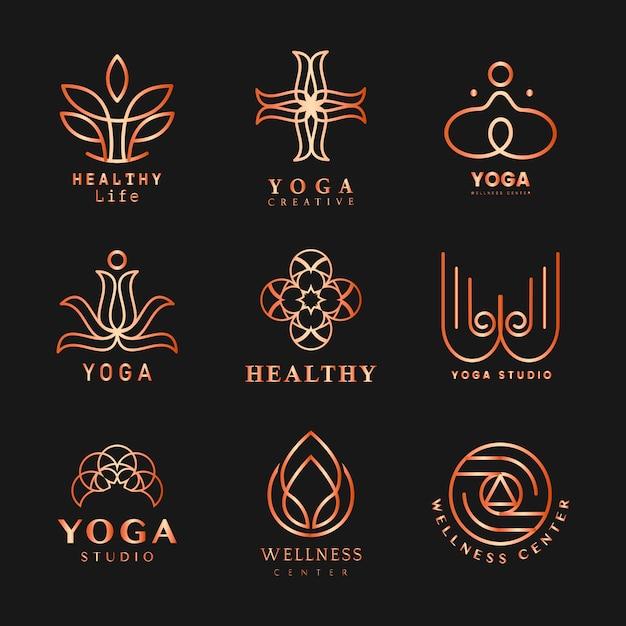 Set van yoga logo vector Gratis Vector