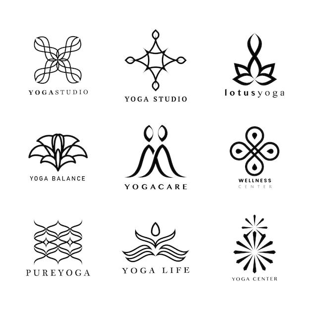 Set van yoga-logo Gratis Vector