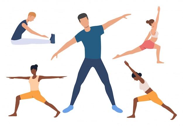 Set van yogi. mannen en vrouwen die yoga doen Gratis Vector