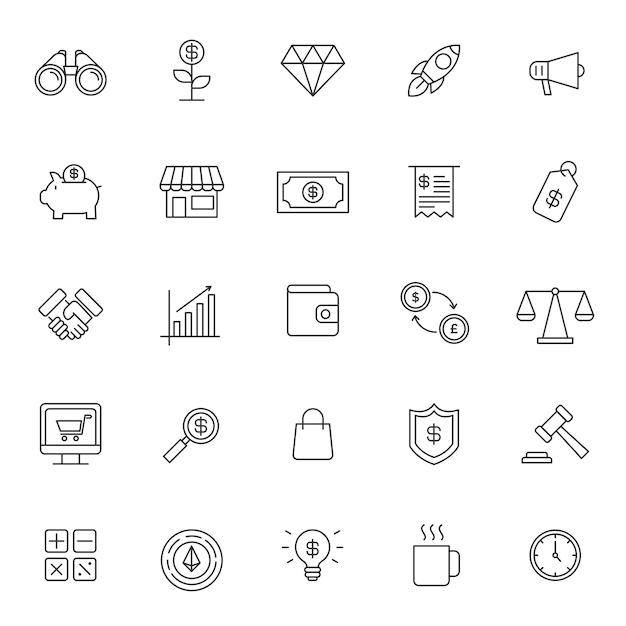 Set van zakelijke financiële pictogram Premium Vector