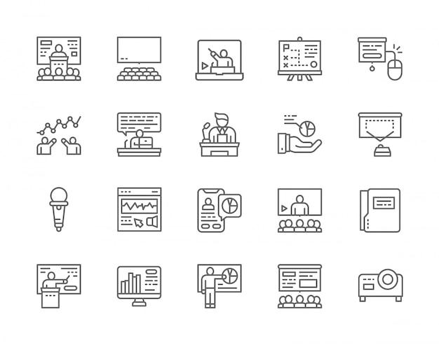 Set van zakelijke presentatie lijn iconen. Premium Vector