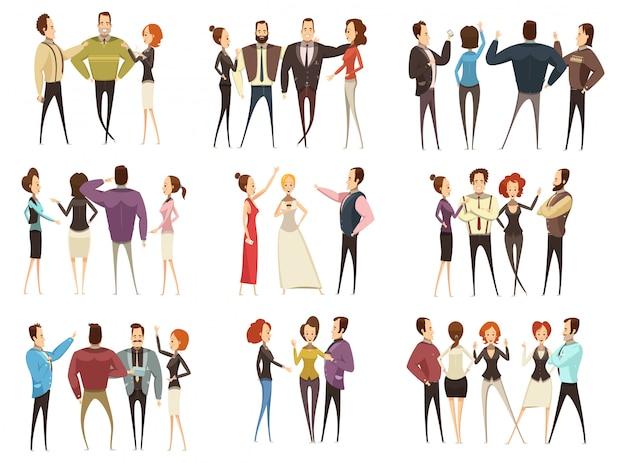 Set van zakelijke teams voor- en achterkant bekeken met mannen en vrouwen cartoon stijl geïsoleerd vector illustra Gratis Vector