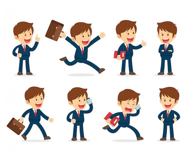 Set van zakenman cartoon werkend karakter ontwerp Premium Vector