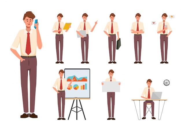 Set van zakenman creatie karakter pose met beroep baan in uniform pak. chibi cartoon zakenmensen stijl. Premium Vector