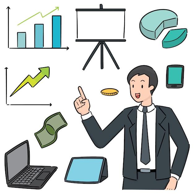 Set van zakenman en zakelijke pictogram Premium Vector