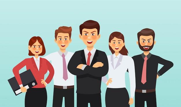 Set van zakenman en zakenvrouw characterdesign Premium Vector