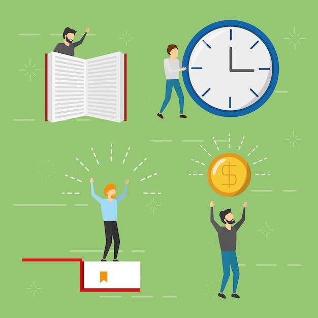 Set van zakenman met boek, klok en munt, vlakke stijl Gratis Vector