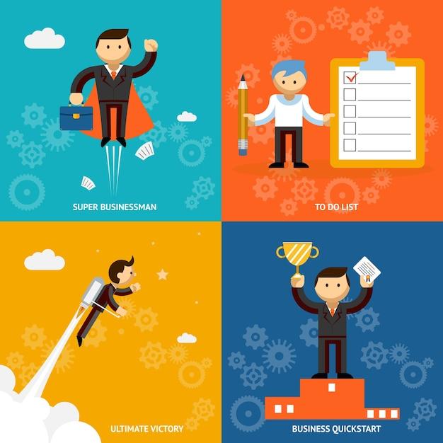 Set van zakenman vector stripfiguren die een super zakenman afschilderen. takenlijst jet aangedreven ultieme overwinning en een prestatie-snelstart of onderscheiding Gratis Vector