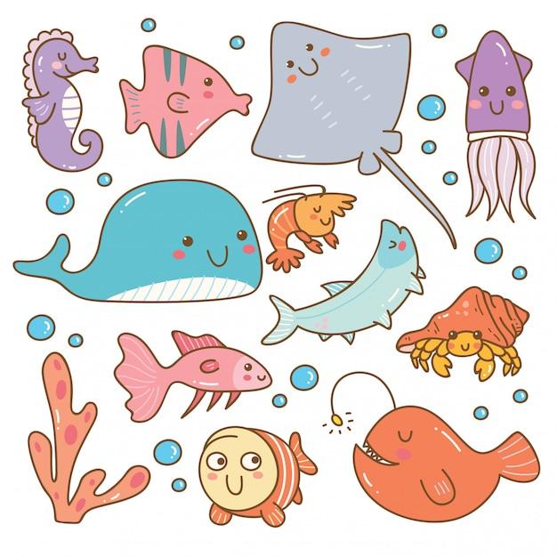 Set van zee dieren kawaii set Premium Vector
