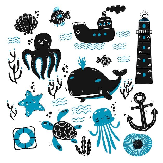 Set van zeedieren en mariene schetsen Premium Vector