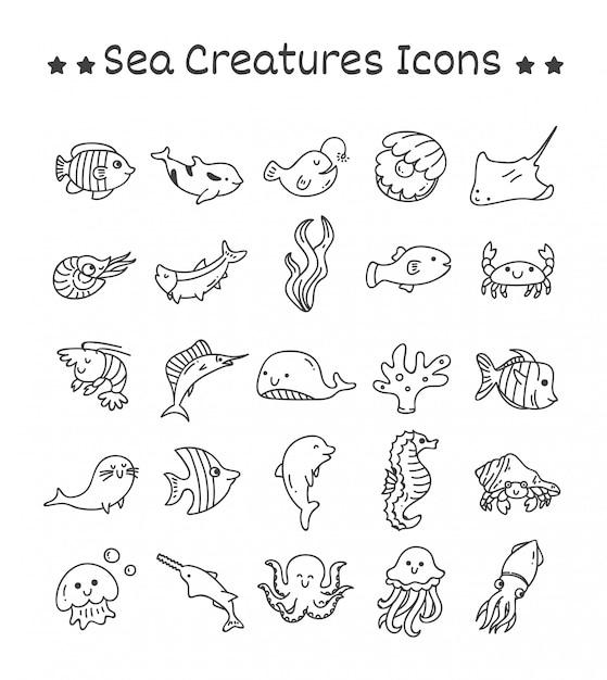 Set van zeedieren iconen in doodle stijl Premium Vector