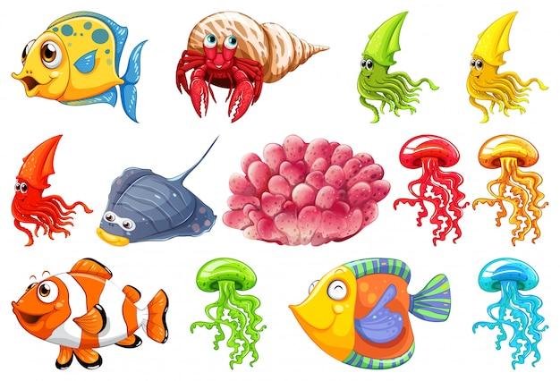 Set van zeedieren Gratis Vector