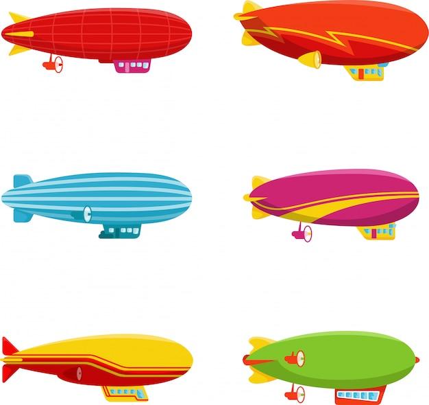 Set van zeppelin luchtschip in ander type Premium Vector
