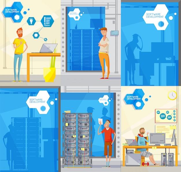 Set van zes doodle-stijl zachte posters met verschillende personages silhouetten werknemer Gratis Vector