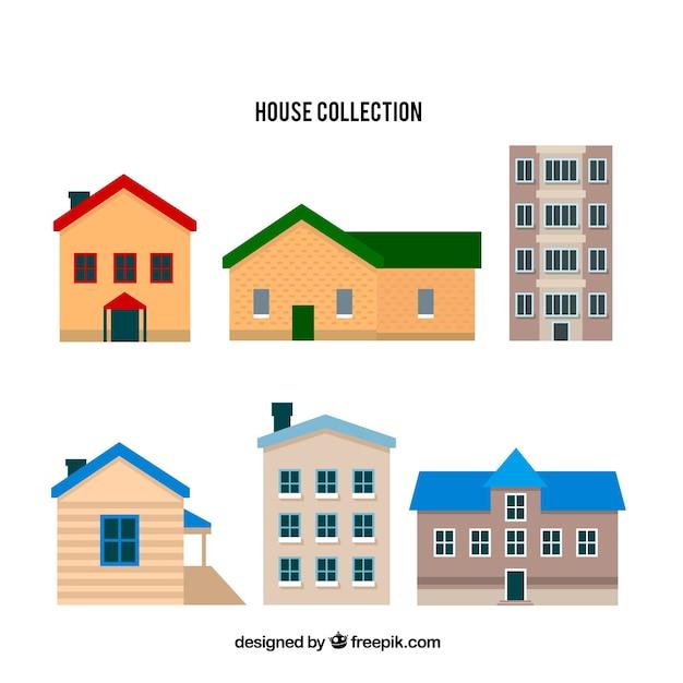Set van zes huizen Gratis Vector