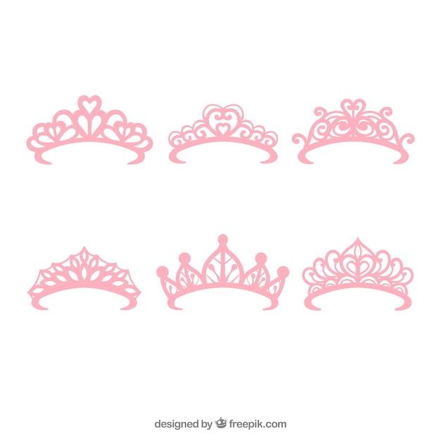 Set van zes prinses roze kronen Gratis Vector