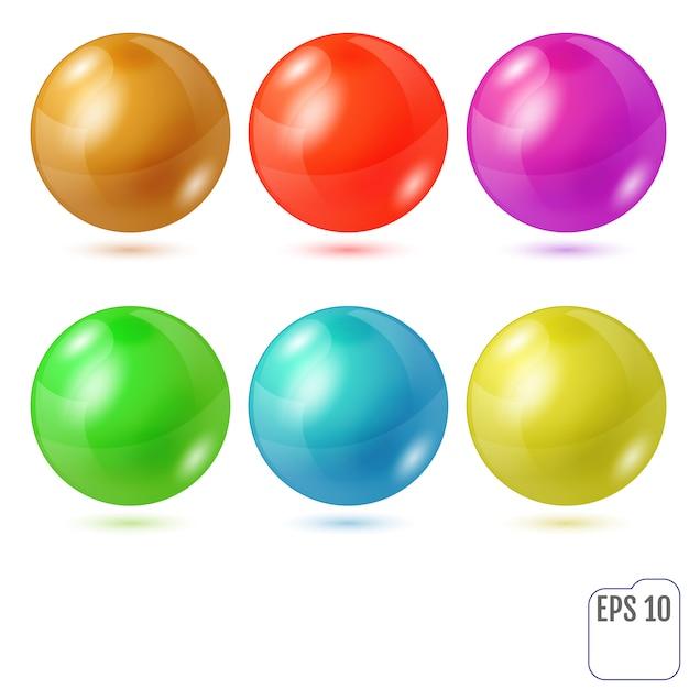 Set van zes veelkleurige realistische gekleurde bollen Premium Vector
