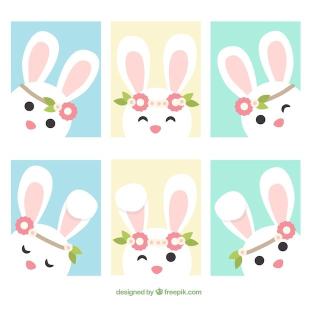 Set van zes wenskaart met leuke easter konijn in plat design Gratis Vector