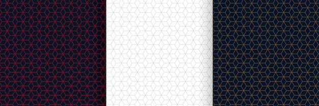 Set van zeshoekige lijnen patroon achtergrondontwerp Gratis Vector