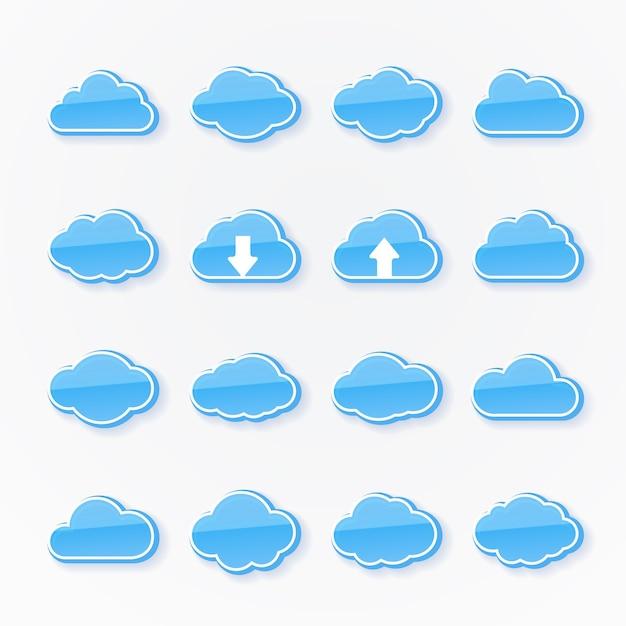 Set van zestien blauwe wolkpictogrammen met verschillende vormen die het weer weergeven, twee met pijlen die opwaartse en neerwaartse transmissie van gegevens in cloud computing weergeven Gratis Vector