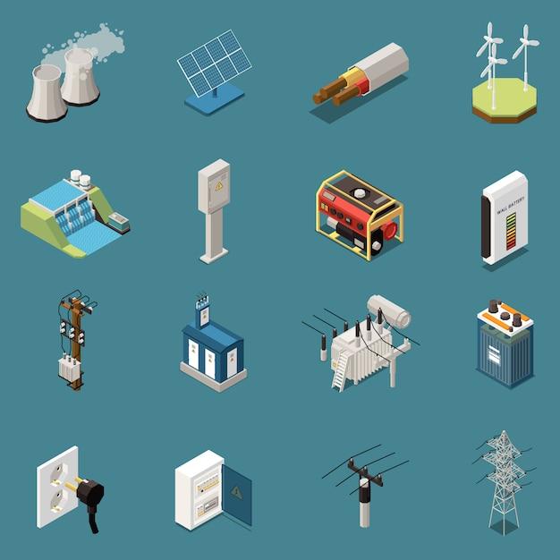 Set van zestien geïsoleerde isometrische elektriciteitspictogrammen met afbeeldingen van verschillende binnenlandse en industriële elektrische infrastructuurelementen Gratis Vector
