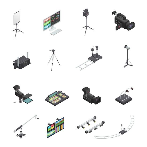 Set van zestien geïsoleerde video- en televisie-uitzending studio-apparatuur isometrische pictogrammen inclusief ca Gratis Vector