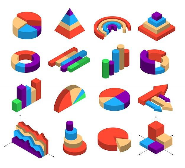 Set van zestien isometrische diagramelementen Gratis Vector