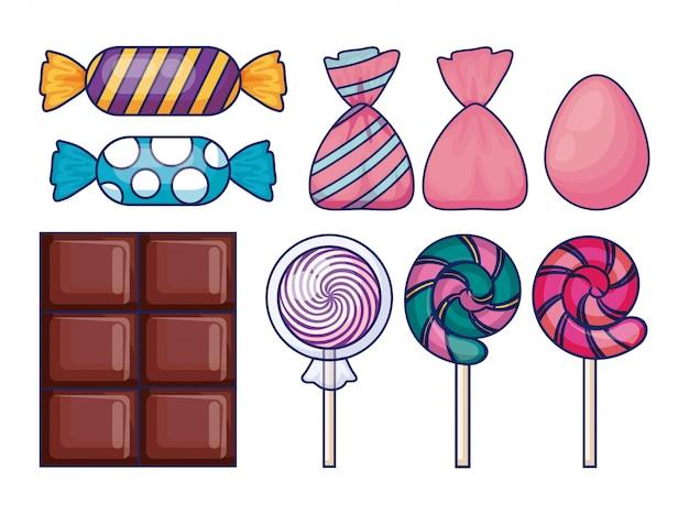 Set van zoete snoepjes Gratis Vector