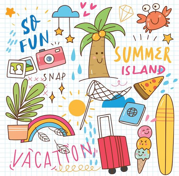 Set van zomer doodle collage Premium Vector