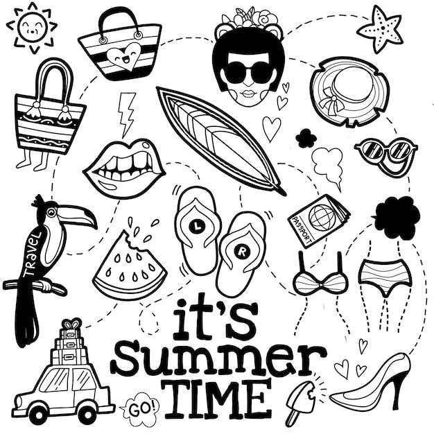 Set van zomer doodle op wit Premium Vector