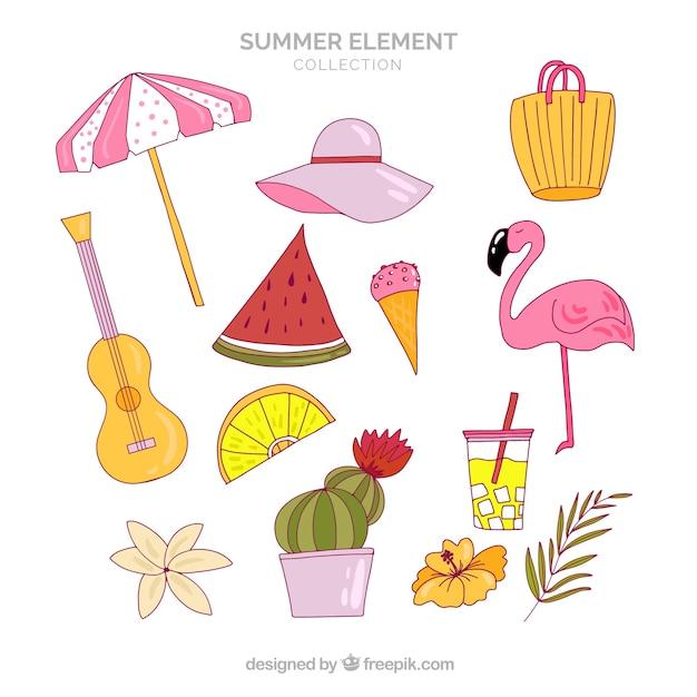 Citaten Zomer Gratis : Set van zomer elementen in hand getrokken stijl vector
