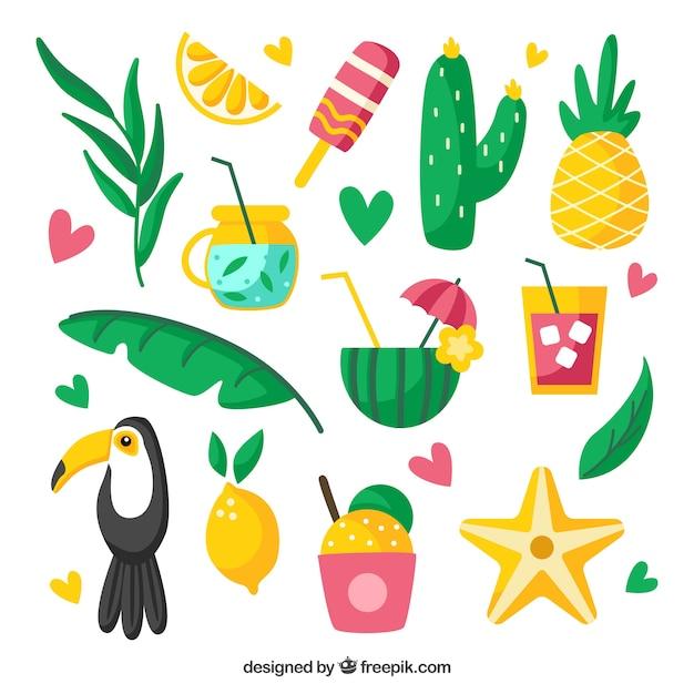 Citaten Zomer Gratis : Set van zomer elementen met fruit en voedsel in vlakke