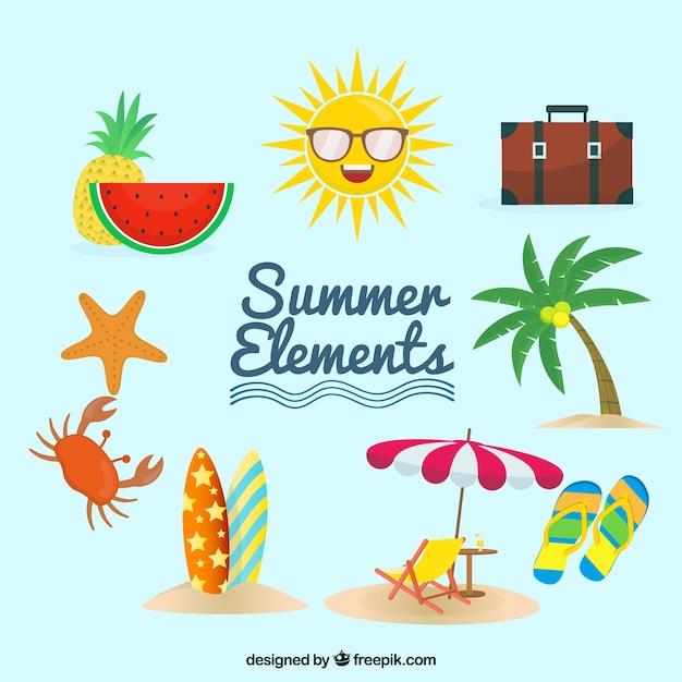 Set van zomer elementen met voedsel en kleding in vlakke stijl Gratis Vector