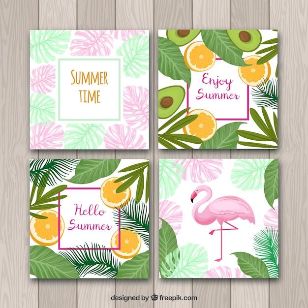 Set van zomer kaarten met planten en vruchten patroon Gratis Vector