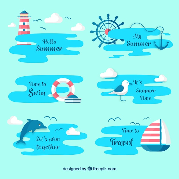 Set van zomerlabels met strand elementen Gratis Vector