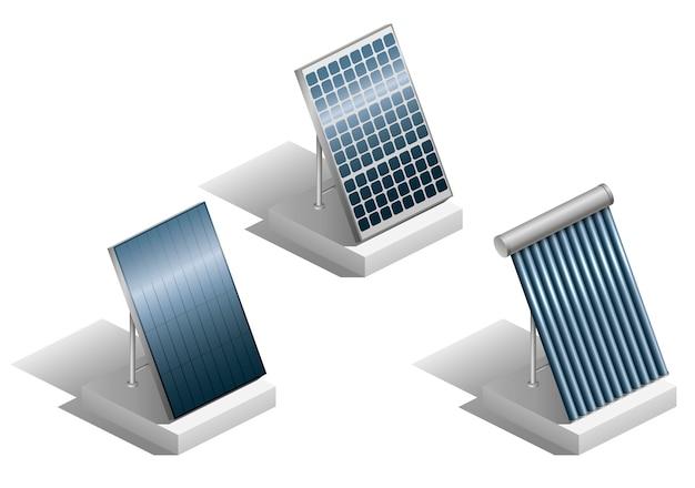 Set van zonnepanelen Premium Vector