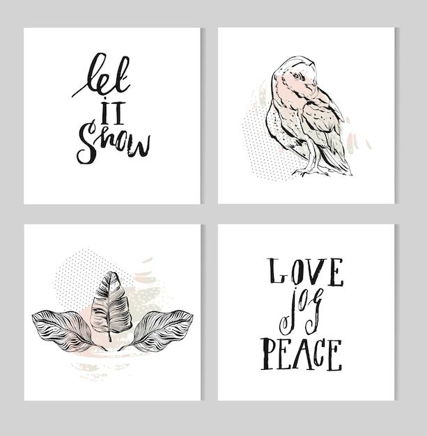 Set van zwart-wit hand belettering kerst zin ontwerpcollectie, handgemaakte kalligrafie en grafische inkt illustratie met uil en tropische palmbladeren samenstelling in pastelkleuren. Premium Vector