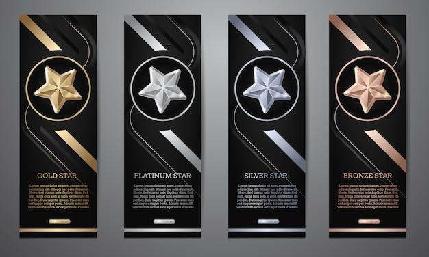 Set van zwarte banners Premium Vector
