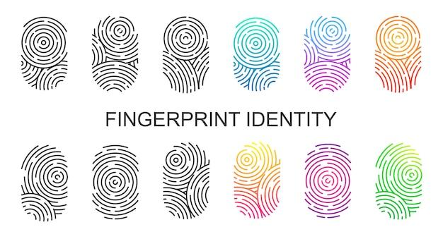 Set van zwarte en kleur vingerafdrukken geïsoleerd op een witte achtergrond. duimvingerafdruk of persoonlijke id, unieke biometrische identiteit voor politie of beveiliging. Premium Vector