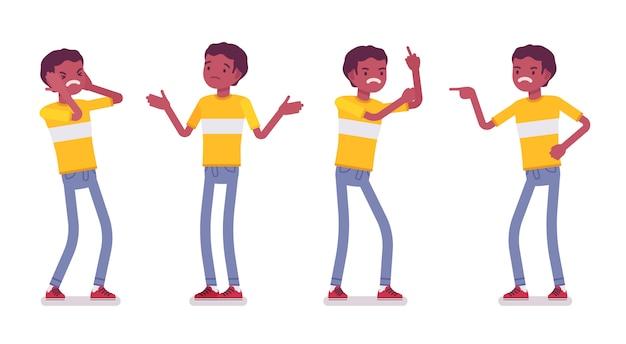 Set van zwarte of afrikaanse amerikaanse jonge man, negatieve emoties Premium Vector