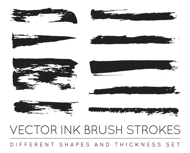 Set van zwarte pen inkt penseelstreken. grunge inkt penseelstreek. vuile penseelstreek. Premium Vector