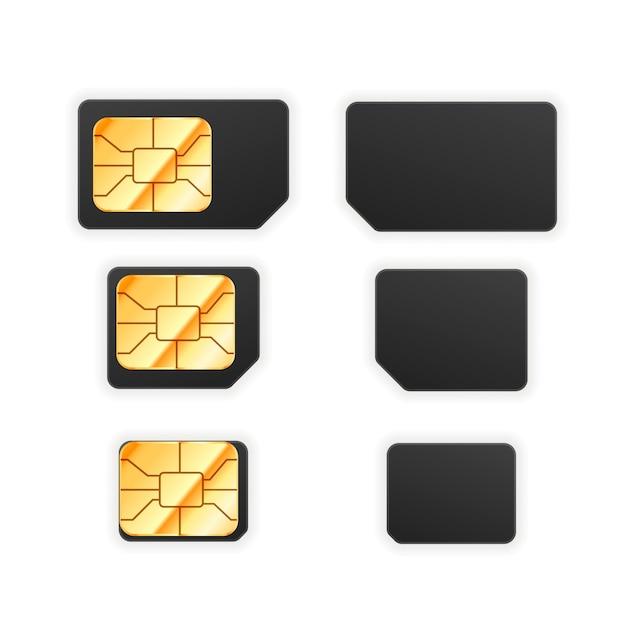 Set van zwarte standaard, micro- en nano-simkaart voor telefoon met gouden glanzende chip Premium Vector