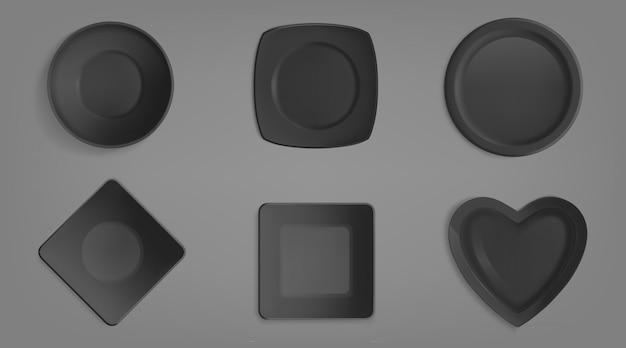 Set van zwarte verschillende vormen kommen. Gratis Vector