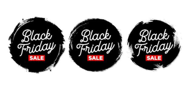 Set van zwarte vrijdag sticker met grunge Gratis Vector