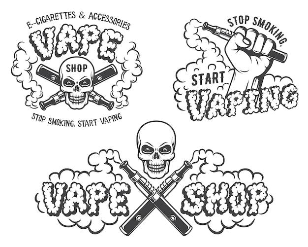 Set vape, e-sigaret emblemen Premium Vector