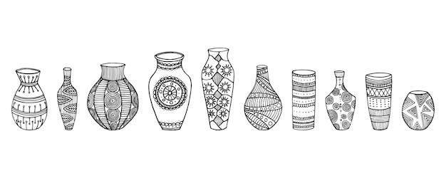 Set vazen. verschillende vormen van handgetekende vazen. vector illustratie vazen Premium Vector