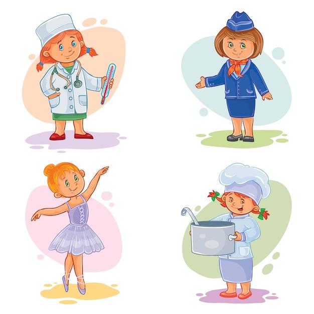 Set vector iconen van kleine kinderen verschillende beroepen Gratis Vector