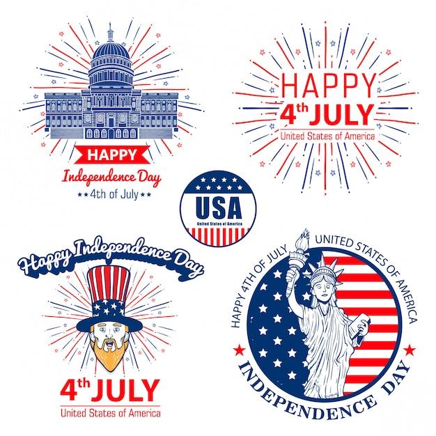 Set vector weer van juli verenigde vermeld onafhankelijkheidsdag viering Premium Vector