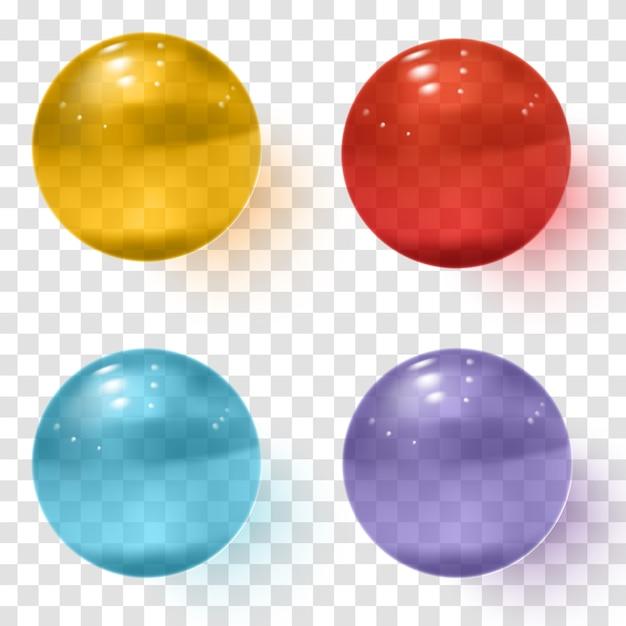 Set veelkleurige transparante glazen bollen met schaduwen Premium Vector