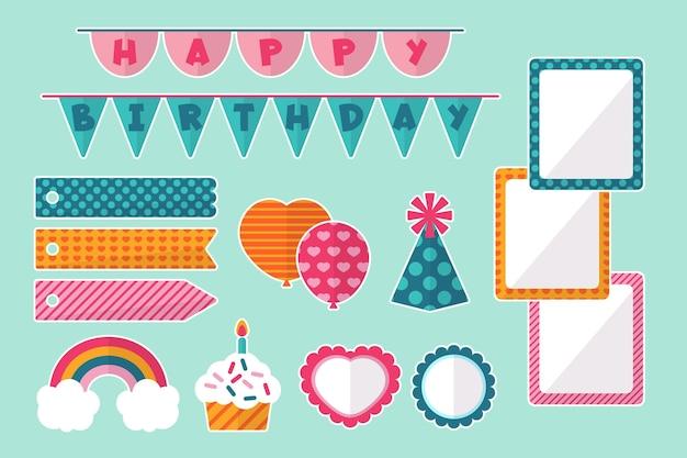 Set verjaardag decoratieve plakboekelementen Gratis Vector